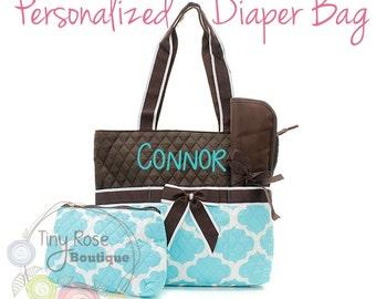 Personalized Diaper Bag, Aqua Quatrefoil Monogrammed Baby Tote, Changing Pad, Mommy Bag