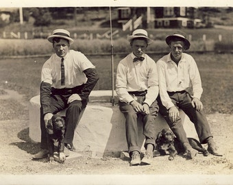 Men In FEDORA and Straw HATS with Their DOGS Photo Postcard circa 1915