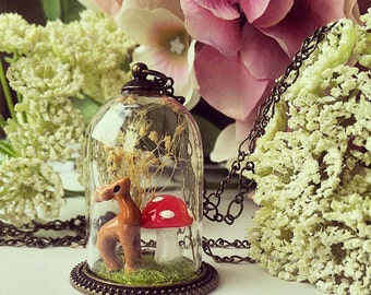 Bambi deer at the forest in a  glass capsule necklace