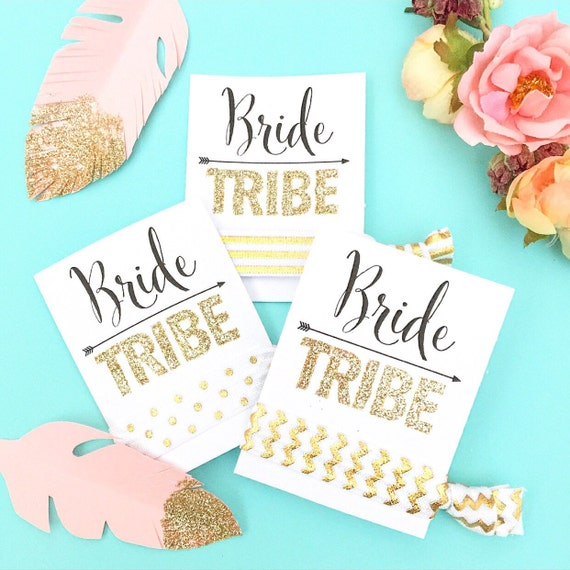 Bride Tribe Glitter Party Favor Hair Ties