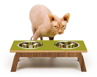"Mid Century Modern Pet Feeder | Elevated SMALL Cat & Dog Bowl | MCM Walnut Pet Dish | 16 oz Stainless Bowls | ""Double Diner"""