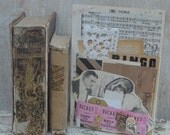 Mixed Media Pack- music paper, book pages, decorative papers, vintage magazine art, tickets, buttons, flower, bow, tags, flashcard, lace