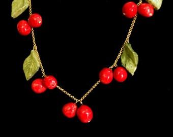 Ceramic pendants, jewelry , handmade , statement necklace, charm necklace , Cherries , long necklace, elements, unique, Fugi Naim