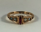 High quality fully hallmarked and signed 1980s victorian antique style 9ct gold pearl and garnet ring