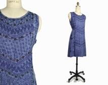 Vintage 90s Embroidered Hippie Dress in Indigo Blue - one size