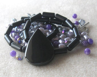 Black Agate Teardrop Pendant, Obsidian, Glass, DIY Jewelry Kit, Craft Supplies, Bead Kit, Jewelry Making Beads, Necklace Kit, Jewelry Supply
