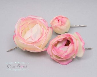 Pink Rose Hair Clip Flowers. Set of 3. Real Touch Roses in cream pink, blush. hair pins, bobby pins, bridesmaid, bride, silk flowers