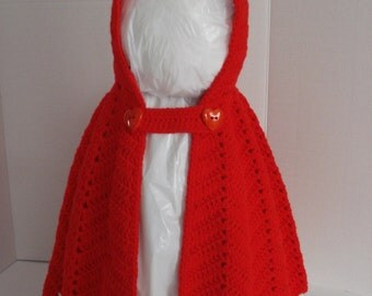 Little Red Riding Hood Crocheted Bright Red Dress Up or Everyday Cape for Little Girls in Size 36 Months 3T