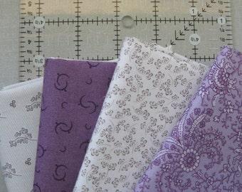 Civil War era reproductions  4 fat quarters Greys & Purples   Mourning colors