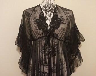Vintage 70s Romantic Long Black Sheer Gown / V-Neck Empire Waist Butterfly Flounce Sleeve Lingerie / Lace Detail Prairie Ruffle Maxi Duster