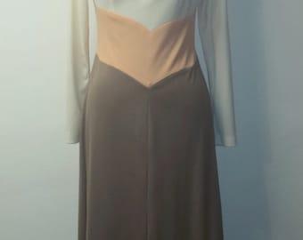 SUMMER HEAT SALE Vintage 1960s Maxi Dress - Peaches and Cream