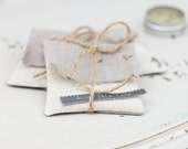 set of 5 USB packaging natural linen pouches