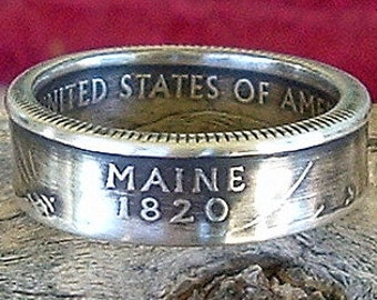 2003 Maine State Quarter Coin Ring (90% Silver) (Available in sizes 4 through 9)