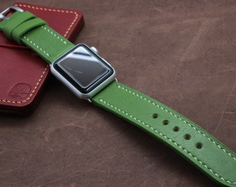 Hand Stitched Leather Apple Watch Strap in SAP GREEN