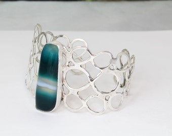 Green Onyx Sterling Silver Lacy Cuff Bracelet Wide, Size Small-Medium