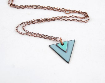 Layered Triangles Long Statement Necklace