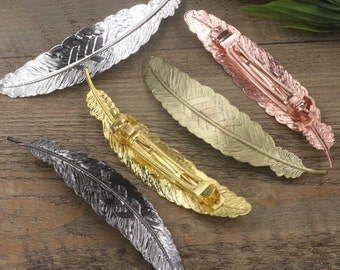 5 Hair Barrettes- Brass Bronze/ Silver/ Gold/ Rose Gold/ White Gold/ Gun-Metal Plated 110x23mm Filigree Feather Barrette Base Setting- Z6211