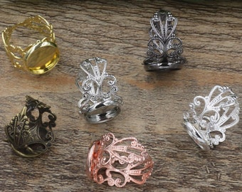 20 Filigree Ring Base Brass Bronze/ Silver/ Gold/ Rose Gold/ White Gold/ Gun-Metal Plated W/ 12mm/ 14mm/ 16mm/ 18mm/ 20mm Round Bezel- Z6108