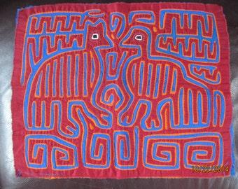 Kuna 2 Birds Head Mola Hand & Machine Stitched Panama Art Red Blue Orange