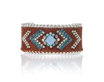 Leather cuff bracelet / hand embellished bracelet / gift for her / aztec pattern jewelry / aztec bracelet / swarovski crystal bracelet