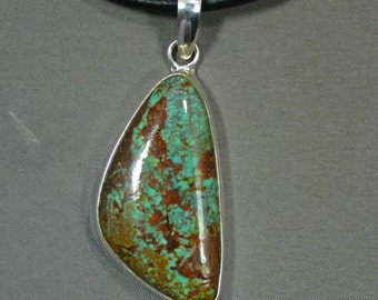 Turquoise and sterling Kingman mine pendant James Saunders,  JS-pd-072