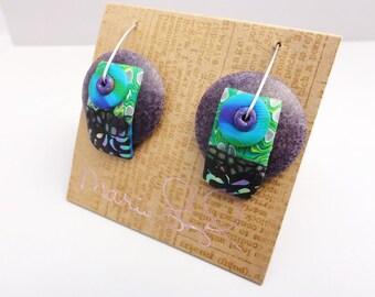 Disk Earrings Peacock farm by Marie Segal new earrings design new wire design