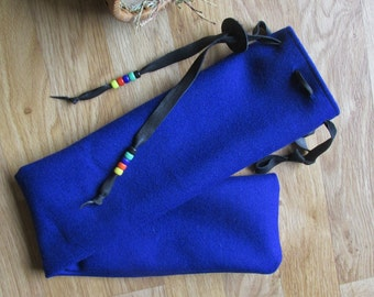Native Flute Whistle Pouch Shakuhachi Drumstick Bag Pennywhistle or Pipe Case - Blue Wool, Leather, Glass Crow Beads 24 x 4