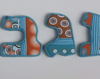 Personalized Hebrew letters, millefiori polymer clay, wall decor, children name, nursery