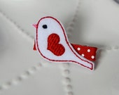 The Love Bird Valentine's Hair Clip- Red Hearts, White Felt Birdie- Valentine Accessory for Girls