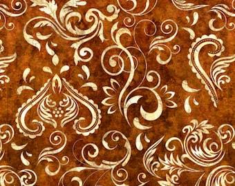 Quilting Treasures Unbridled Inlay Scrolls Dark Sienna fabric - 1 yard