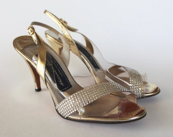 Vintage 1960s Gold and Rhinestone Illusion Heel Pumps Women's Shoes Size 8.5