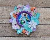 Frozen Forever....Small ribbon flower hairbow...lavender and aqua....snowflake