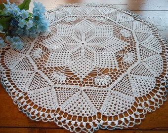 Lovely Large Vintage Hand Crocheted Doily Blue Tipped Edge