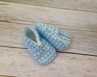 Blue and White Triangle Soft Sole Baby Shoes - Sizes 0-18 Months