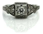 Vintage Diamond Engagement Antique Diamond Engagement Ring .24ctw European Cut Diamond Platinum Engagement Ring Diamond Ring Art Deco Size 4
