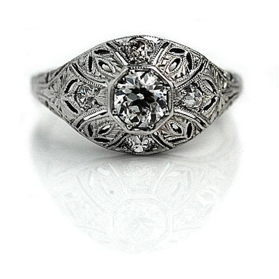 Art Deco Engagement Ring .70ctw Antique Diamond Filigree Ring 18K White Gold Ring with European Cut Diamond Vintage Wedding Ring Size 5.75!
