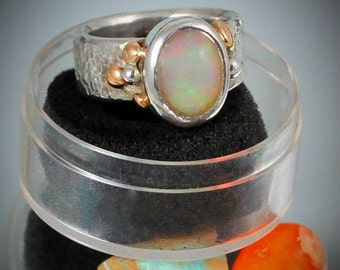 20% OFF Valentines Sale Get Lost in Your 4.20 Carat Welo Opal Sterling Silver Ring with 14k. Gold Accents SIZE  7.5-8