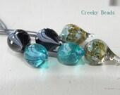 Handmade Lampwork Head Pins - Blue/green mix! - Creeky Beads SRA