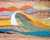 OOAK Wall Hangings Decorative Arts Textiles Tapestry Embroidery Fiber art Wall Tapestry Landscape Modern Art Original painting Tuscany hills