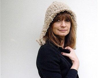 Women's hat Knit crochet woman hat by nerina52 Italian style Fashion Women hats Fall winter Cream bouclé wool women hat gift for her