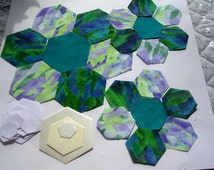 Patchwork DIY Kit ; hexagonal flower patchwork