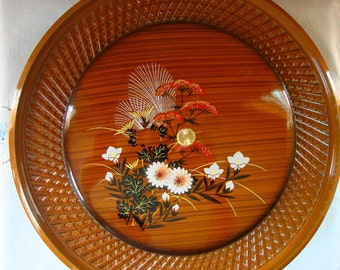 VINTAGE LACQUER TRAY Set Lazy Susan Serving Made in Japan 3 Piece 5 Compartment Serving Relish Dip Sides Appetizers Salad Lacquerware
