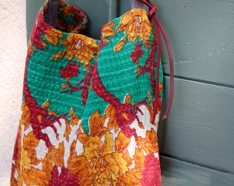 Kantha Shoulder Bag. Indian Fabric Tote Sari Purse  Orange Red Flowers. Tan  Leather Strap. Medium. Vintage Fabric.  Handmade With Passion.