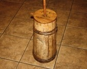 Antique Staved Wooden Country Butter Churn with Wooden Bands; Old Primitive Churner, Rustic, Naive, 19th Century
