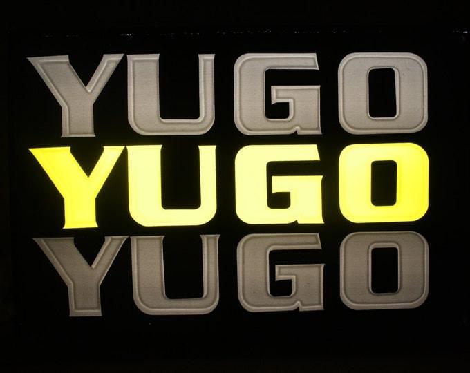 Yugo Dealer Sign; Rare Vintage 2 Sided Lighted Automobile Dealership Window Sign