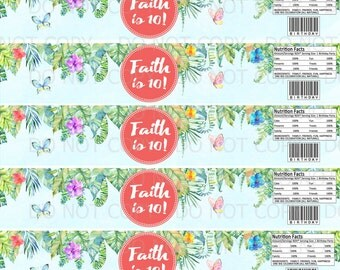 Printable Personalized Tropical Rainforest Birthday Girl Doll Theme Water Bottle Labels