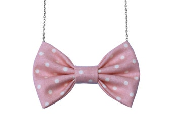 Peach Dot Bow-tie Necklace, Bowtie for Women, Girls - 18-20 inches Chain - Casual, Bohemian, Party, Wedding, Gift