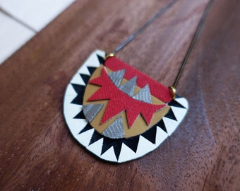 Modern Black, Red and White Geometric  x Polyurethane x Southwestern Leather Necklace