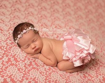 Pink Satin Bloomers, Bloomers and Rhinestone Headband, Baby Girl Prop, Newborn Photo Prop, Bloomer Set, Diaper Cover