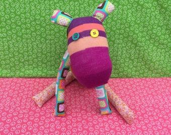 OOAK handmade recycled stuffed animal hippo hazel